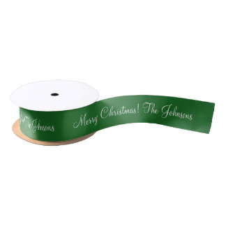 Personalized green Merry Christmas gift ribbon Satin Ribbon