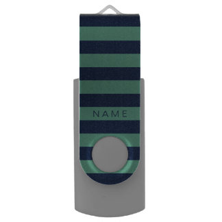 Personalized Green & Navy Blue Striped USB Flash Drive