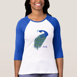 Personalized Green Peacock Ladies 3/4 Sleeve T-Shirt