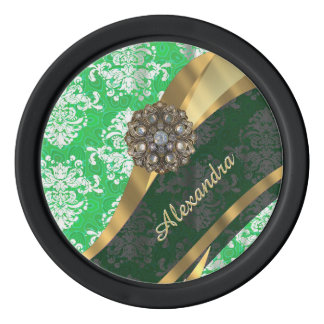 Personalized green pretty girly damask pattern set of poker chips