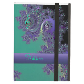 Personalized Green Purple Music Fractal iPad Case