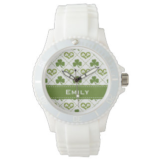 Personalized Green Shamrock and Hearts Watch
