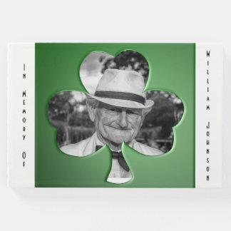 Personalized Green Shamrock Memorial Guest Book