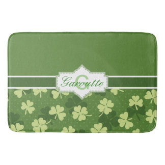 Personalized Green Shamrock St Patricks Day Bath Mat