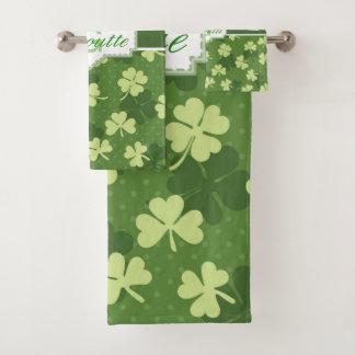 Personalized Green Shamrock St Patricks Day Bath Towel Set