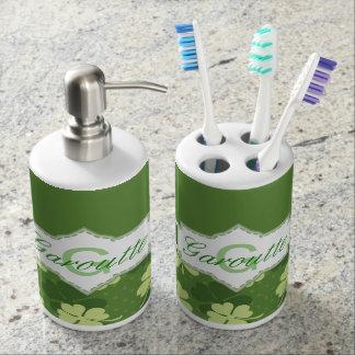 Personalized Green Shamrock St Patricks Day Bathroom Set