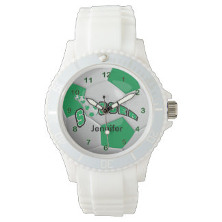 Personalized Green Soccer Ball Watches