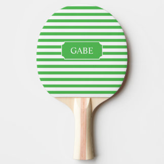 Personalized Green Stripe Ping Pong Paddle