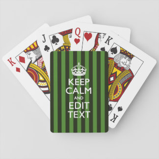 Personalized Green Stripes Keep Calm Your Text Playing Cards