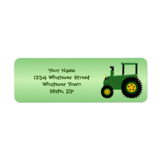 Personalized Green Tractor Return Address Label