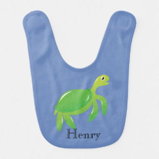 Personalized Green Turtle Bib