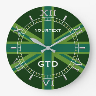 Personalized Green Union Jack British Flag Dial Large Clock
