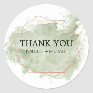 Personalized Green Watercolor and Gold Thank You Classic Round Sticker