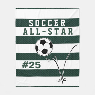Personalized Green & White SOCCER Blanket