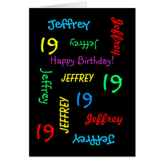 Personalized Greeting Card, 19th Birthday Black Card