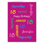 Personalized Greeting Card, Pink, 18th Birthday Card