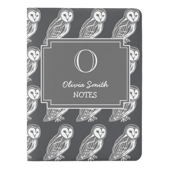 Personalized Grey Barn Owls Notebook