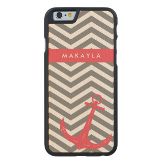 Personalized Grey Chevron with Anchor Carved Maple iPhone 6 Case
