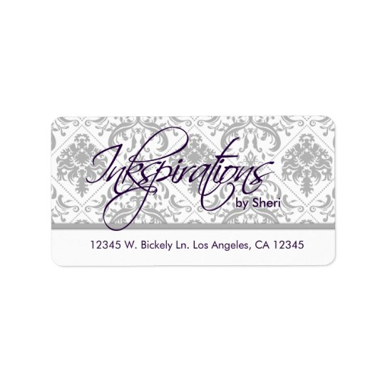 Personalized Grey Damask and Eggplant Purple