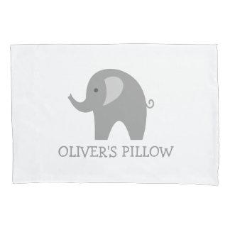 Personalized grey elephant kids bedroom pillowcase
