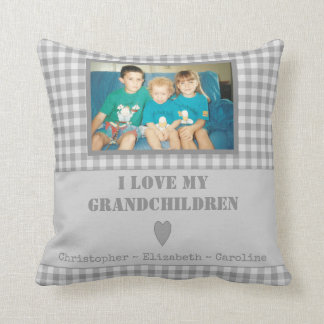 Personalized grey gingham Photo Grandparents Throw Pillow