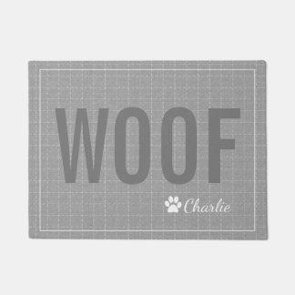 Personalized Grey Woof Dog Pet Mat