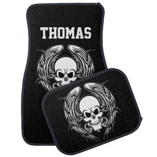 Personalized Grinning Tattoo Skull Wings Tribal Car Mat