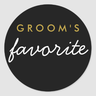 Personalized Groom's Favourite Sticker Black Gold