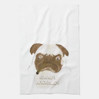 Personalized Grumpy AFICIONADO Puggy Cigar Kitchen Towels