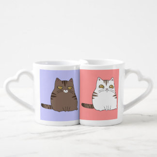 Personalized Grumpy and Happy Kitty Coffee Mug Set