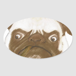 Personalized Grumpy Puggy with Cigar Oval Sticker