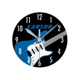 Personalized Guitar Clock | Blue, Gray, Black