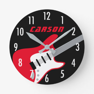 Personalized Guitar Clock | Red, Gray, Black