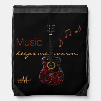 Personalized Guitar Music Notes Black Backpack
