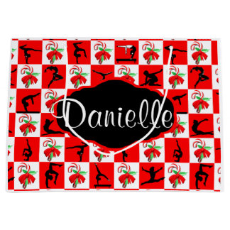 PERSONALIZED GYMNAST CHRISTMAS CANDY CANE GIFT BAG