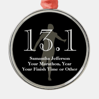 Personalized Half Marathon Runner 13.1 Keepsake Silver-Colored Round Ornament