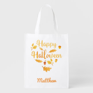 Personalized Halloween Acorns Trick or Treat Sack Reusable Grocery Bag