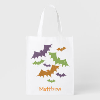 Personalized Halloween Bats Trick or Treat Sack Reusable Grocery Bag