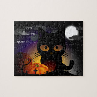 Personalized Halloween Black Cat Jigsaw Puzzle