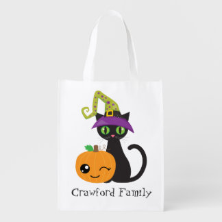 Personalized Halloween Cat and Pumpkin Grocery Bag