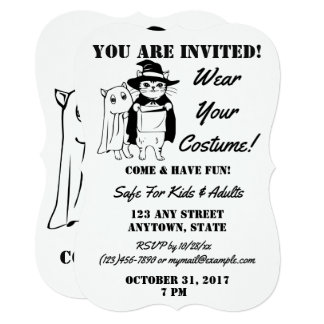 Personalized Halloween Costume Party Cat and Ghost Card
