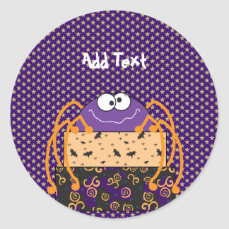 Personalized Halloween Gifts, purple spider Classic Round Sticker