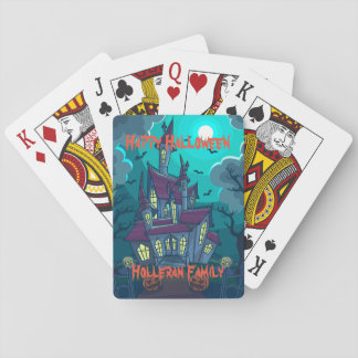Personalized Halloween Haunted House Playing Cards