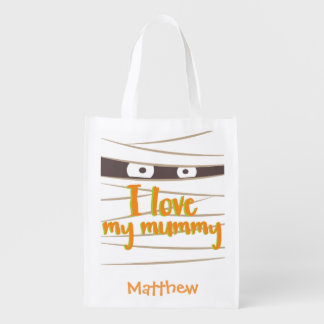 Personalized Halloween Mummy Trick or Treat Sack Reusable Grocery Bag