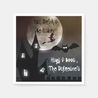 Personalized Halloween Party Haunted House Paper Napkin