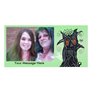 Personalized Halloween Photo Scary Black Tree Photo Cards