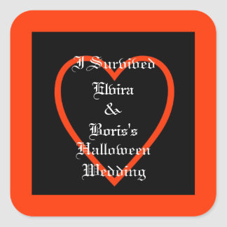Personalized Halloween Wedding Favor Square Sticker