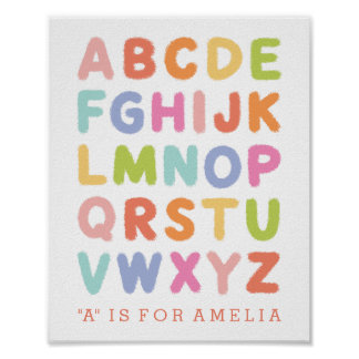 Personalized Hand Lettered Rainbow Alphabet Print