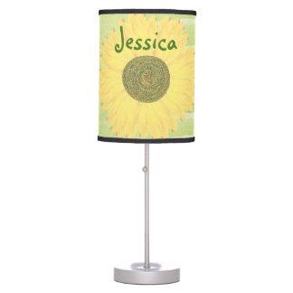 Personalized Handrawn Handpainted Sunflower Table Lamp