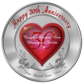 Personalized Happy 30th Anniversary Presents Plate